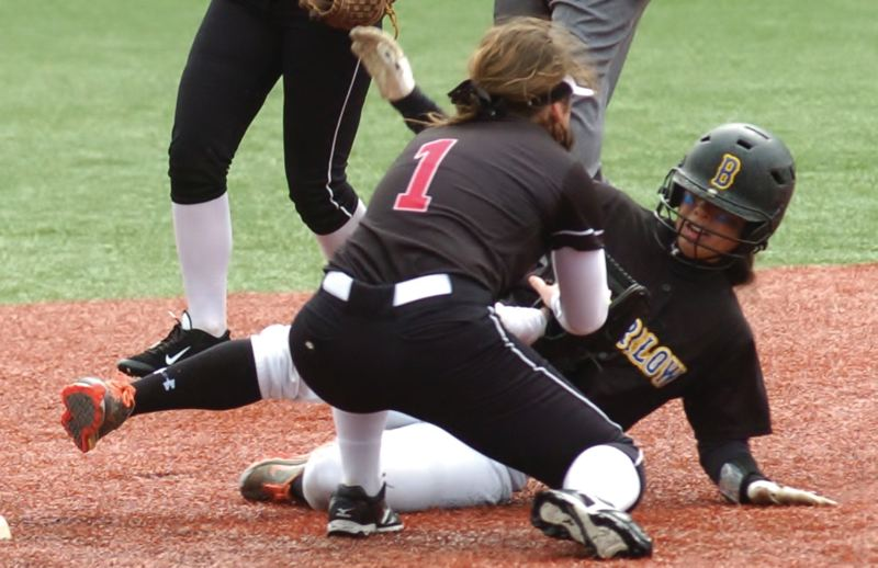 by: SANDY POST: PARKER LEE - Sandy shortstop Hailey Valitski tags Barlows Kaylee Ree on a slide into second base.