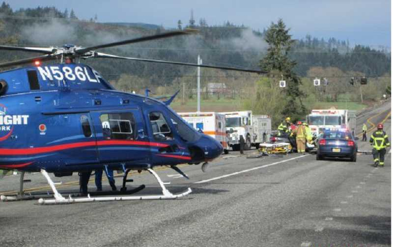 by: SUBMITTED PHOTO: OSP - Oregon State Police is continuing its investigation into a Monday morning injury crash along Highway 26 near Banks. A Beaverton woman was transported by LifeFlight helicopter with serious injuries.