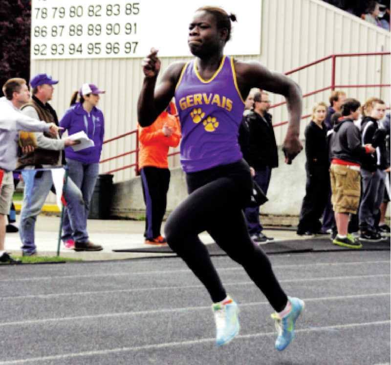 by: PHIL HAWKINS - Gervais sprinter Beverlyn Stott picked up where she left off last season, finishing first in the 100 and second in the 200 at the West Valley League Icebreaker.