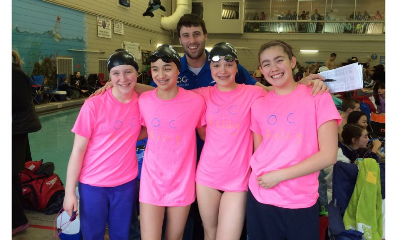 by: SUBMITTED - Members of Oregon Citys 11-12 girls relay team did themselves proud at the recent 11-14 State Swimming Championships, earning third place in the 11-12 200-yard freestyle relay. Pictured with coach Ben Talbott are relay team members (left to right) Maggie Metcalf, Jaiden Eubanks, Kate Laderoute and Emma Gould.