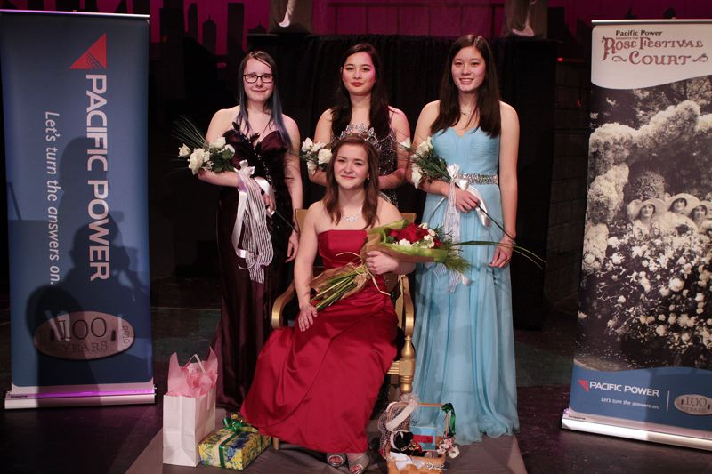 by: DAVID F. ASHTON - With the rest of her schools court - Mae Graham, Addison Neher, and Naomi Tsai - is the 2014 Portland Rose Festival Cleveland High School Princess, Callie Krevanko.
