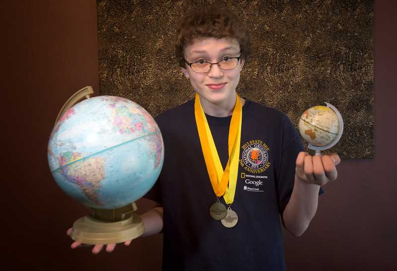 by: TIMES PHOTO: JONATHAN HOUSE - Fowler Middle School student Mike Coloma will battle it out in the Oregon State Geography Bee on Friday.