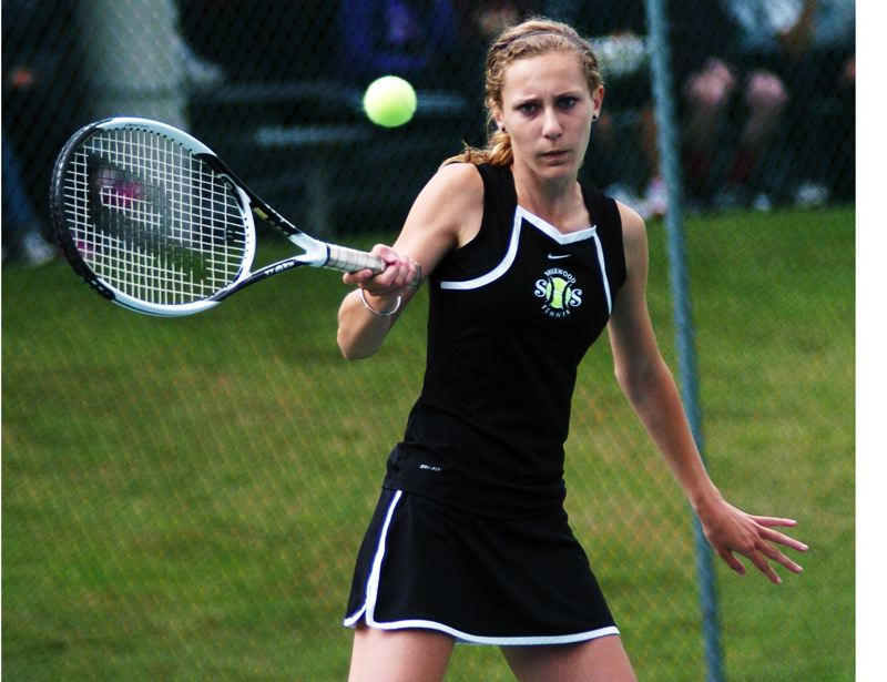 by: DAN BROOD - TOP OF THE LIST -- Sherwood sophomore Allison Schwarm, shown here at last year's state tourney, will play at No. 1 singles this year.