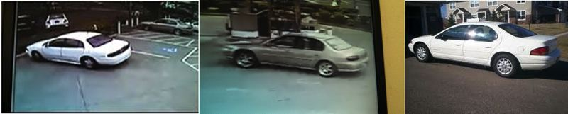 by: GRESHAM POLICE DEPARTMENT - SUSPECT VEHICLES (from left): white, 4-door, 2000 era Dodge Stratus; white, 4-door, 2000 era Buick LeSabre with a dent or mark on the trunk; gold, 4-door, 2000 era Chevrolet Malibu with oversize chrome-colored wheels