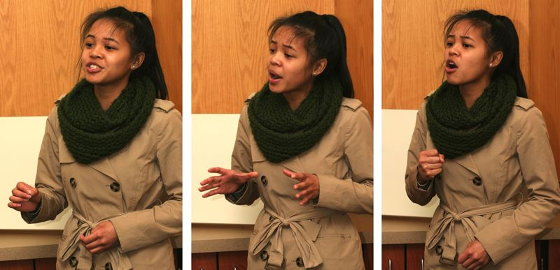 by: OUTLOOK PHOTO: JIM CLARK - Rosie Reyes recites 'The Pomegranate and the Big Crowd' by Alberto Rios at CAL, where she is a senior.