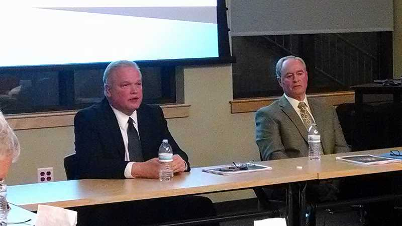 by: OUTLOOK PHOTO: CARI HACHMANN - Sheriff Dan Staton (left) and Troutdale Police Chief Scott Anderson gave a presentation Tuesday night, April 1. The two have been in talks about consolidating services for four years.
