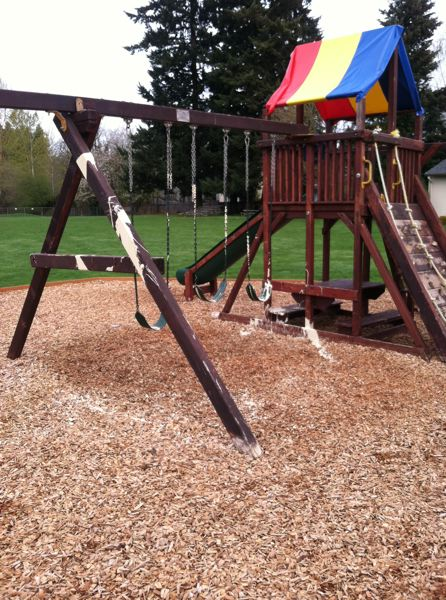 by: PHOTO COURTESY: OCPD - Spilled paint is found April 3 on playground equipment at North Clackamas Christian School.
