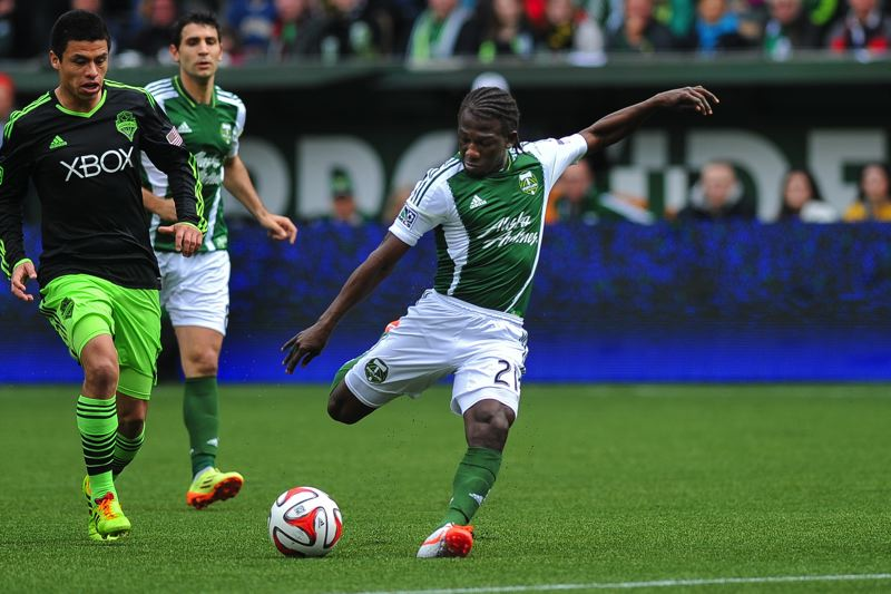 by: COURTESY OF JOHN LARIVIERE - Portland's Diego Chara scores the first of his two goals Saturday against Seattle.