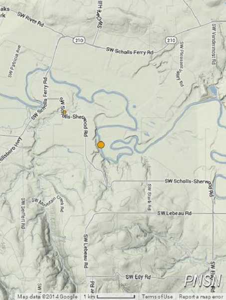 (Image is Clickable Link) Two small earthquakes were reported along Southwest Scholls-Sherwood Road on Sunday night.