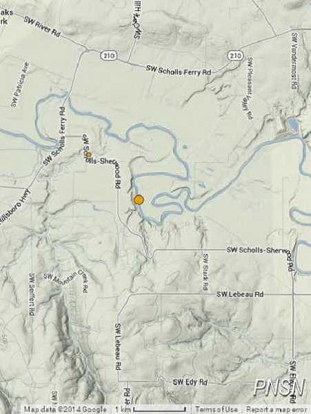 Two small earthquakes were reported along Southwest Scholls-Sherwood Road on Sunday. Tremors were felt in West Linn as well.