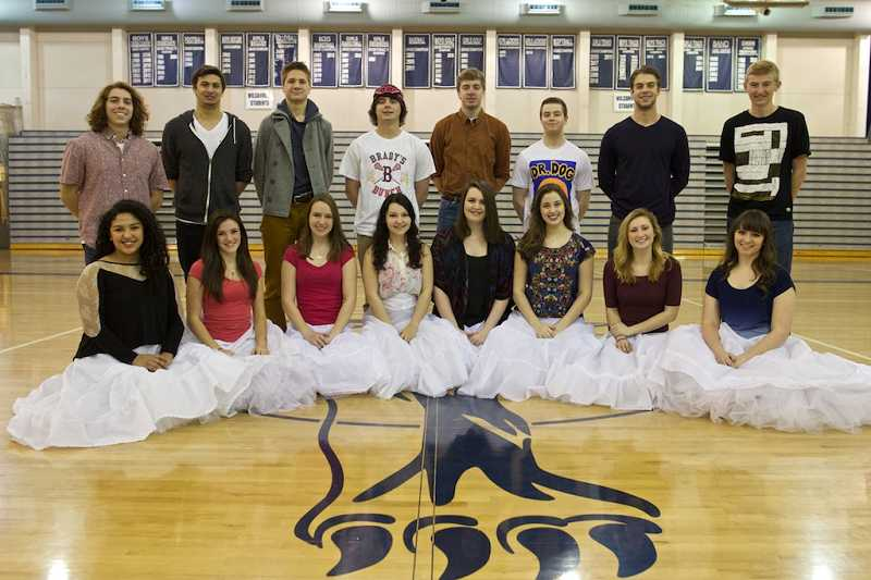 by: PAMPLIN MEDIA GROUP: JAIME VALDEZ - Springfest Court members have been meeting regularly at the school to practice. Back row: Andrew Fairrington, Brendan Tonkin, Alex Tomlinson, Michael Town, Levi Rule, Jason Kummerman, John Hodson and Austin Miller. Front row: Carolina Ramirez Islas, Kylie Whittaker, Annika Oetken, Justine Cohen, Paige Peterson, Rachel Hawkins, Madison Rasmussen and Jessica Small.