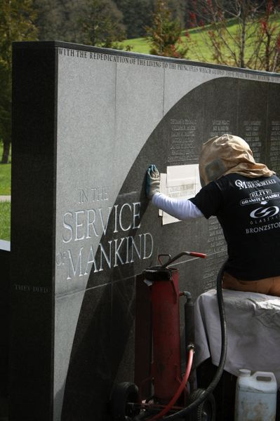by: OREGON DEPT. OF PUBLIC SAFETY STANDARDS AND TRAINING - Oregon City Reserve Officer Robert Libke and Jackson County Sheriff's Office Deputy Charles H. Basyes names are etched into the memorial honoring 180 law enforcement officers who have died in the line of duty statewide.