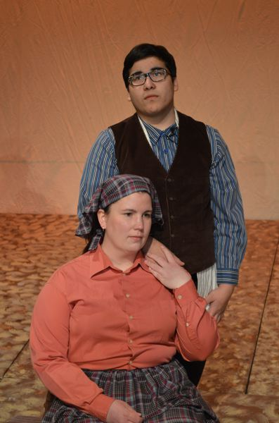 by: PHOTO BY MICHELLE LEIGH - Alec Martinez, as Tevye, shares a quiet moment with his wife, Golde, played by Lacy Redmond.