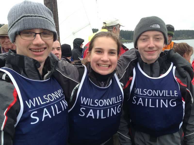by: SUBMITTED PHOTO - The Wilsonville sailing team, which compete under coaches Kyle Eaton and Andrew Cannard through the Northwest Interscholastic Sailing Association, took seventh place April 5-6 at the Island Cup in Washington state. Pictured (left to right): Morgan Wiedensmith, Alexa Ripple and Kjel Pettenger-Willey. Not pictured: Elizabeth Diehl.
