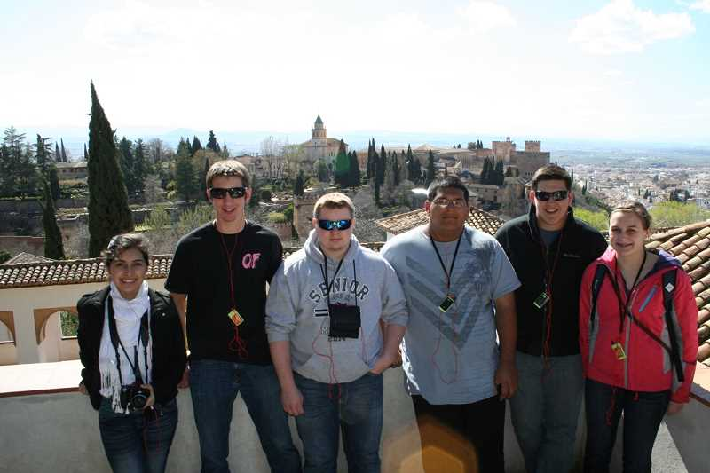 by: SUBMITTED - The six seniors on the trip stand in front on the Alhambra in Granada.