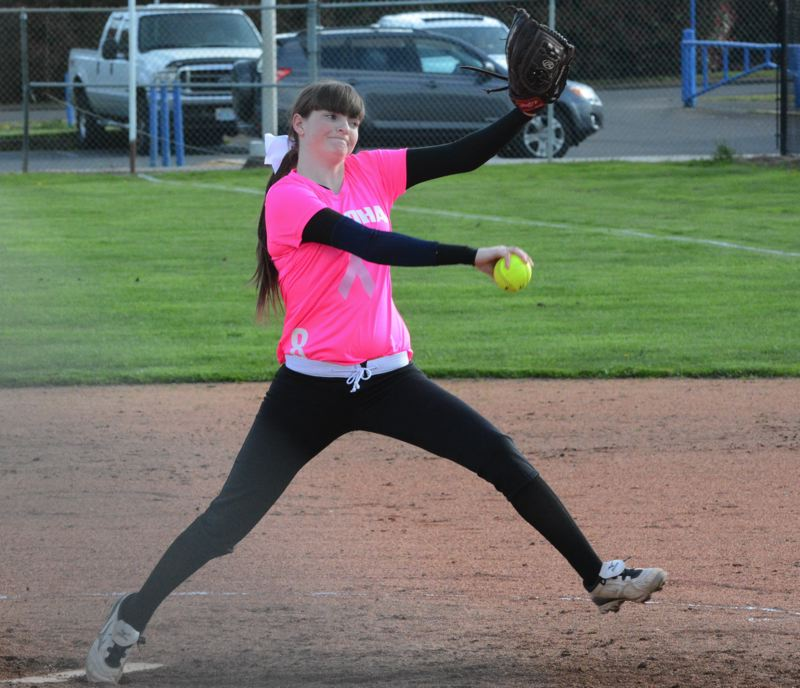 by: TIMES PHOTO: MATT SINGLEDECKER - Aloha junior starting pitcher Courtney Coombs struck out seven in a complete game win over The Dallles on Wednesday April 3.