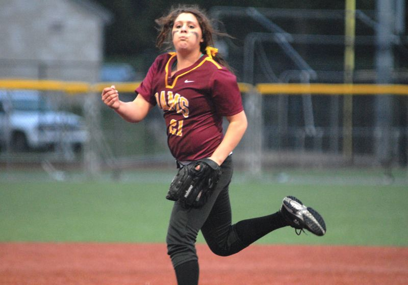 by: PAMPLIN MEDIA GROUP: DAVID BALL - Central Catholic pitcher Katie Barron finished with 11 strikeouts in Tuesday nights 3-2 loss to reigning 5A champion Sandy.