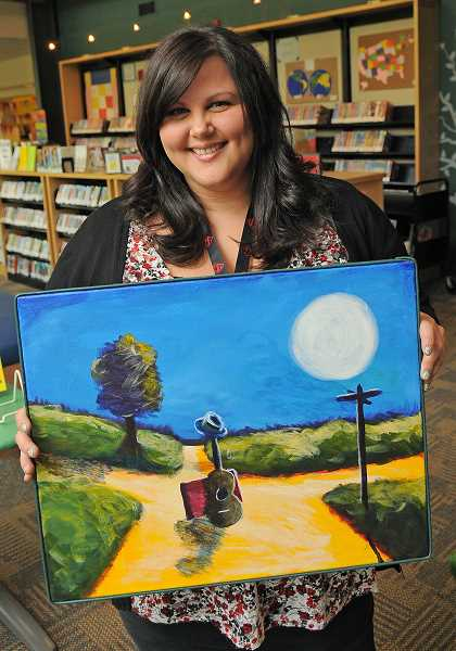 Youth Services librarian Rebecca Mayer is exhibiting a painting titled Crossroads.