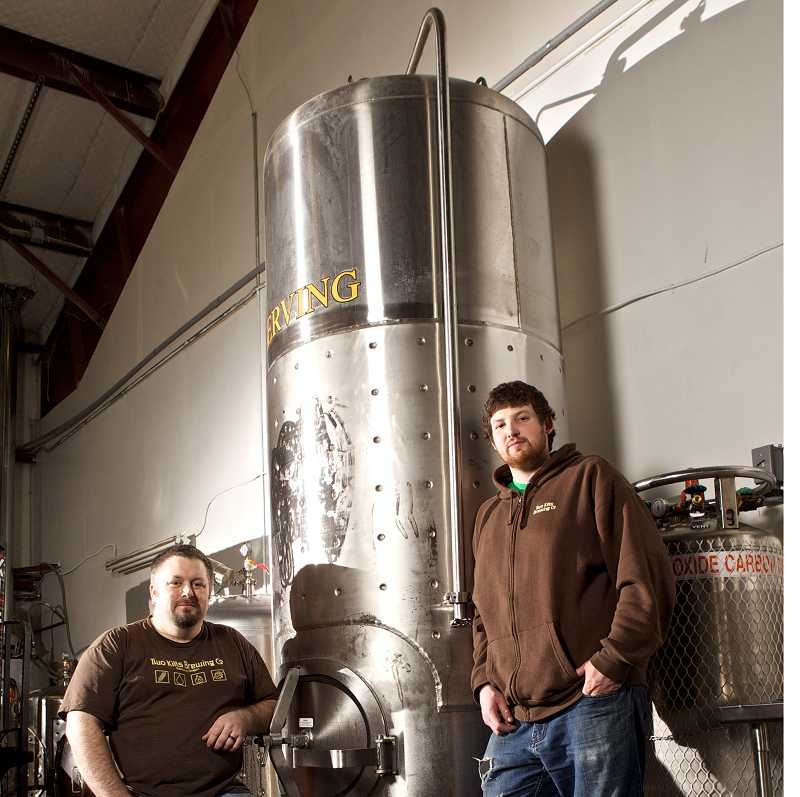by: FILE PHOTO BY JAIME VALDEZ - Chris Dillon and Alex McGaw, owners of Two Kilts Brewery, recently received news they won a gold medal for their Scottish Ale at the 2014 World Beer Cup in Denver.