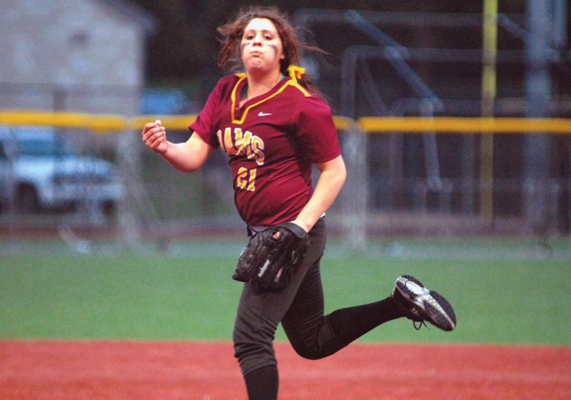 by: PAMPLIN MEDIA GROUP: DAVID BALL - Katie Barrons pitching, and hitting, helped Central Catholic stay close in some competitive recent softball games.