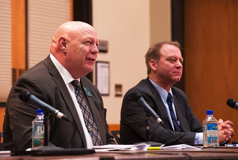 by: FILE PHOTO: JOSH KULLA - Clackamas County Chairman John Ludlow, left, sits next to Paul Savas at a February town hall in Wilsonville. Ludlow has now endorsed Savas' opponents in the coming election.
