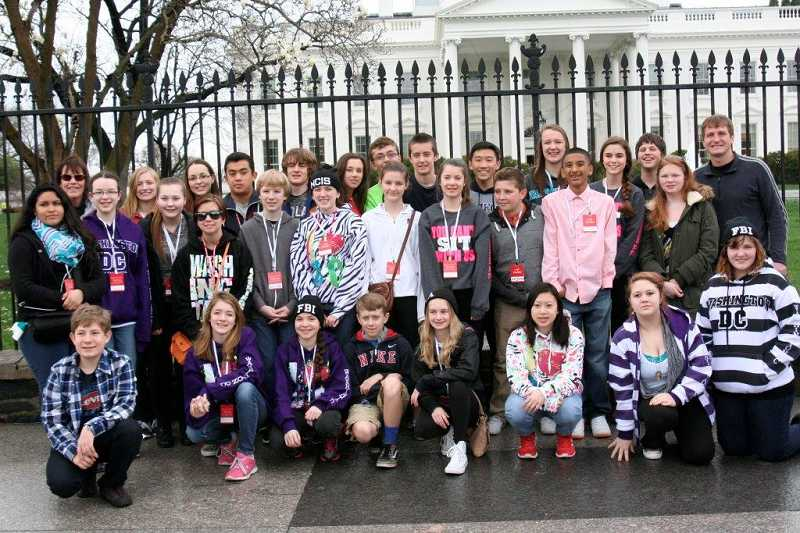 by: SUBMITTED PHOTO - Eighth-graders from Inza R. Wood Middle School took time for sightseeing in between their appearances at the We the People competition in Washington, D.C.