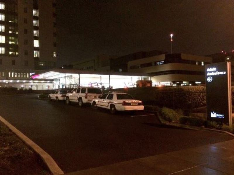 by: KOIN NEWS 6 - Portland police squad cars parked outside Legacy Emanuel Medical Center following a reported officer involved shooting in SW Portland.