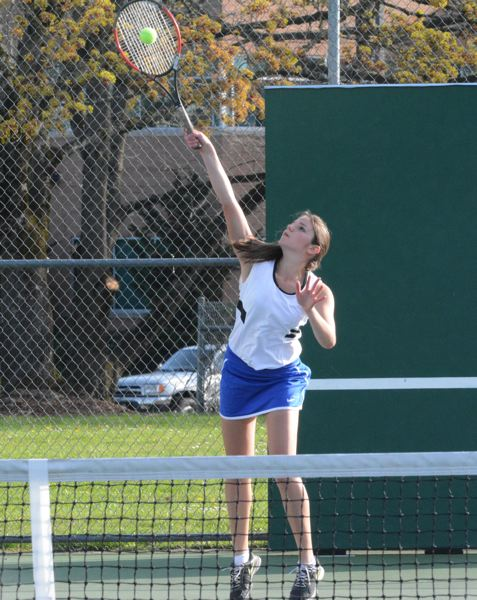 by: TIMES PHOTO: MATT SINGLEDECKER - Aloha's Vineta Gleva just began playing tennis three years ago, but has moved up to the Warriors top spot on Alohas ladder.