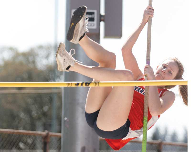 by: PHIL HAWKINS - Kennedy senior Madison Sprauer cleared a personal-record height of 9-0 in the pole vault to finish sixth.