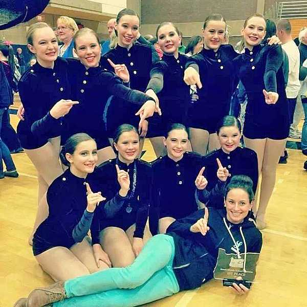 by: SUBMITTED PHOTO - Lakeridge Junior High Schools team earned first place at the Oregon Junior Dance Team Championships. Maggie Dieringer coaches the team.