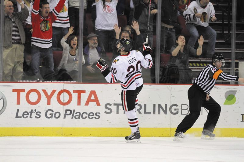 by: COURTESY OF BRYAN HEIM - Taylor Leier, Portland Winterhawks forward and captain, celebrates his power-play goal in the final game of the Victoria playoff series last week with home fans.