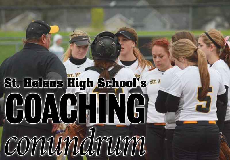 Jeff Edwards (left, in black) talks with his team during the win over McMinnville on April 2. Edwards announced on April 14 that he would resign as head coach of the Lions.
