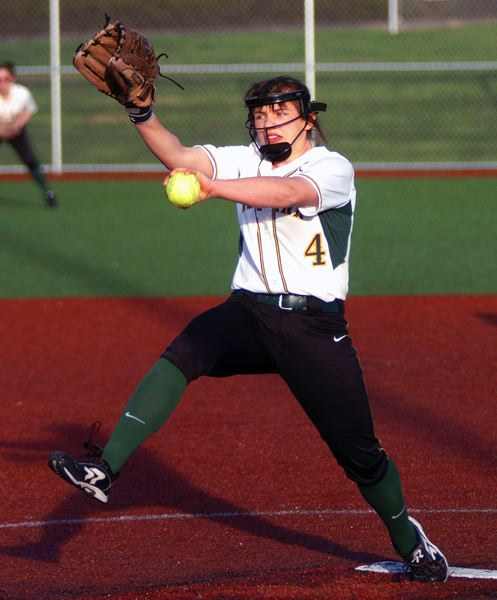 by: DAN BROOD - Sarah Von Ahn deals a pitch in West Linn's recent game against Tualatin. Von Ahn returns to the Lions after a strong freshman season.