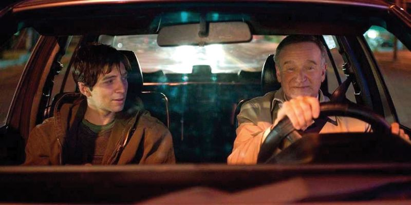 by: COURTESY OF DOUGLAS SOESBE - Robin Williams (right, with Roberto Aguire) stars in Boulevard, an independent movie about a middle-age married man revealing his secrets. Portland native Douglas Soesbe wrote the script, and he says Williams has been thrilled with the movie.