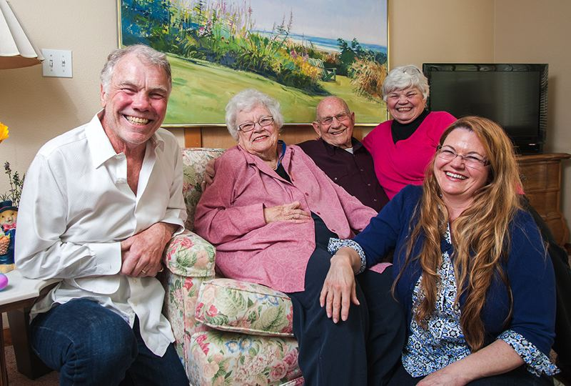 by: SPOKESMAN PHOTO: JOSH KULLA - The Seely family, from left to right, Doug Seely, Louise Seely, Lyman Seely, Charlotte Seely-Sharp and Marilyn Seely-Harris, pose for a photograph during a recent interview about the family history.