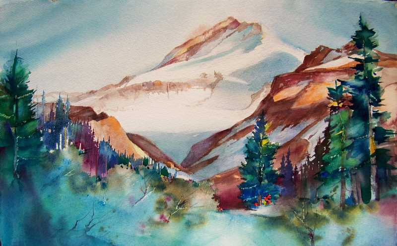 by: SUBMITTED PHOTO - This painting, titled Sunset Timberline Trail, was painted by Steve Ludeman, a new member of Lake Area Artists.