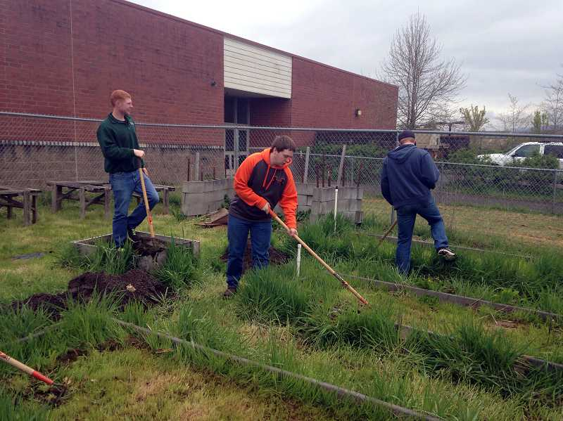 by: COURTESY PHOTO: KIMBERLY MARTIN - FFA students Colin Burton, Matthew Murry and Colton Perdew volunteered their time, too, last Saturday.