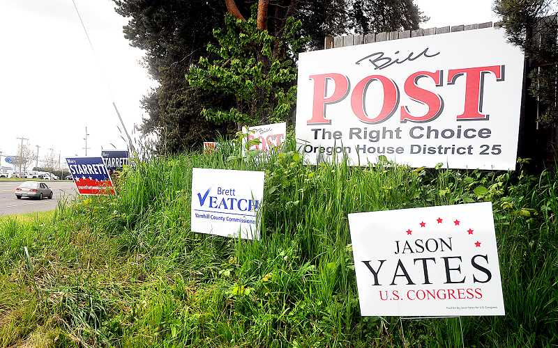 by: GARY ALLEN - Signs of the election season - While these campaign signs appear to legally be placed on private land, many of the signs are being posted in the public right-of-way. In years past, as well, signs have been left up well beyond the limit allowed for by the state.