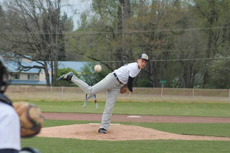 by: JIM BESEDA/MOLALLA PIONEER - Country Christian's Jordan Syphard surrendered one run of four hits with one walk and six strikeouts in last week's 1-0 home loss to Kennedy.