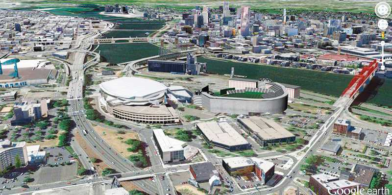 by: GOOGLE EART - A vision of the future - An architect's rendering shows how a 38,000-seat Major League Baseball              stadium might fit into the Rose Quarter.