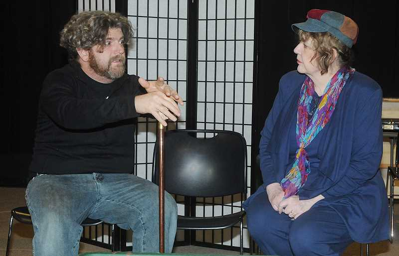 by: GARY ALLEN - True comedy - Michael O'Neill ('Victor Velasco') and Carol Holden ('Ethel') rehearse for Valley Repertory Theatre's production of 'Barefoot in the Park,' set to open May 8.