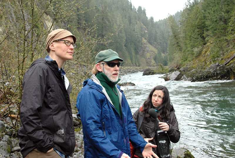 by: ISABEL GAUTSCHI - Bark Staff Attorney Brenna Bell, left, and Program Director Russ Plaeger discuss the unstable geology of the Collawash River Watershed during a media tour Thursday, April 17.