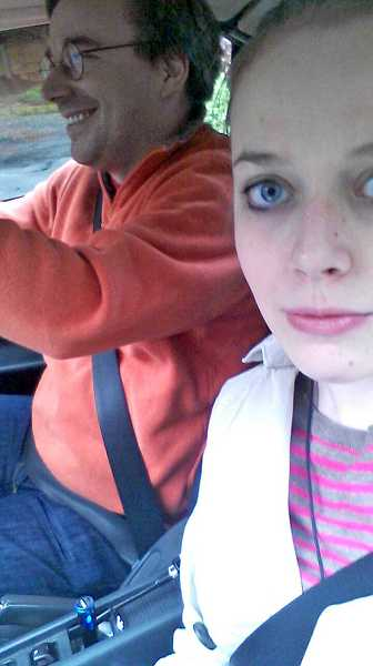 by: SUBMITTED PHOTO: PATRICIA TORVALDS - Patricia Torvalds takes a selfie while driving with her dad, Linus Torvalds.