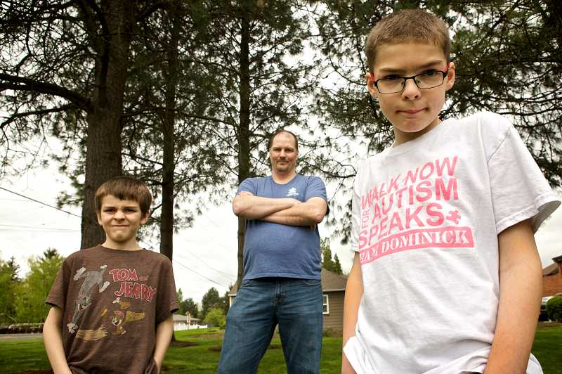 by: TIMES PHOTO: JAIME VALDEZ - Dominick Johnsen, 10, is raising awareness and funding to research autism with help from his brother, Noah, 7, and his dad, Chris.