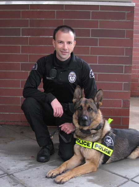 by: SUBMITTED PHOTO - Azi, a Sherwood K-9 officer shown here with his former partner Officer Corey Jentzsch, was sent back to California last year after he attacked Sgt. Nathan Powell.