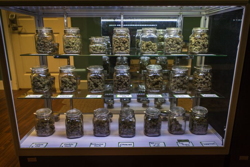 by: PHOTO COURTESY OF KATELYN BLACK - Jars of medicinal marijuana at Pure Green,  a Medical Marijuana dispensary in Portland.