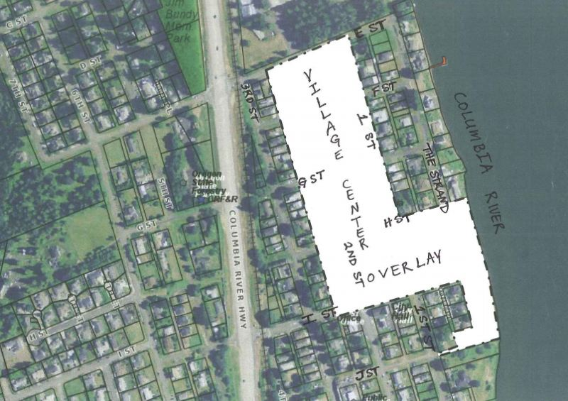 by: MAP COURTESY OF COLUMBIA CITY - A map of the Village Center Overlay posted to the Columbia City website. If it had been approved, the overlay zone would have encompassed virtually the entire downtown area of the city, from the Port of St. Helens-owned Columbia City Industrial Park south to the Caples House Museum, as well as a small slice of land along the Columbia River.