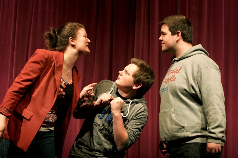 by: OUTLOOK PHOTO: JIM CLARK - From left, Marina Bubnova is Fiona, Dave Miller is Donkey and Brandon Watkins is Shrek in Centennial High School's upcoming play.