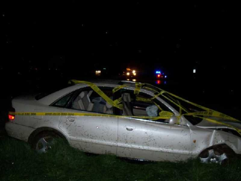 by: OREGON STATE POLICE - The driver of this car attempted to elude police from Canby to Brooks, driving at speeds around 80 mph, before crashing into a power pole around 1:25 a.m. Thursday.