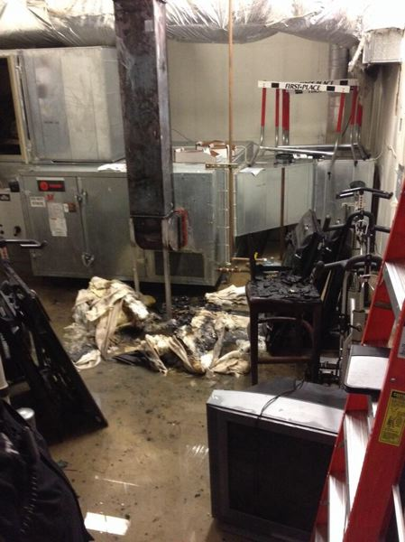 by: TUALATIN VALLEY FIRE & RESCUE - A fire at Bethany Athletic Club apparently started in this utility area and was largely contained by the sprinkler system activating on Friday morning.